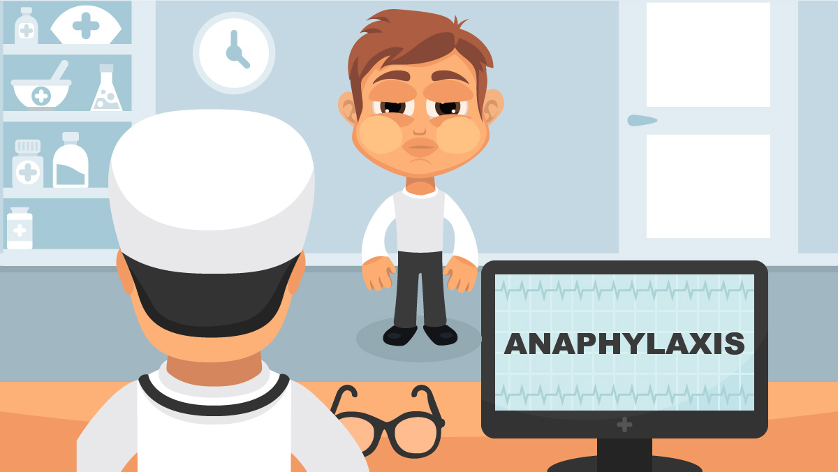 Anaphylaxis medical concept. Vector illustration. Doctor and patient are talking in the hospital. Isolated on white background. - Vector