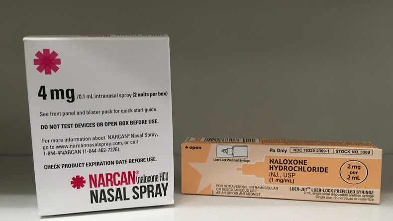 May 26, 2017-ogden Utah USA: naloxone and narcan nasal sprays are now available over the counter to prevent drug overdoses. - Illustration