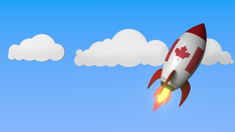 Canada Flag Rocket Clouds Launch