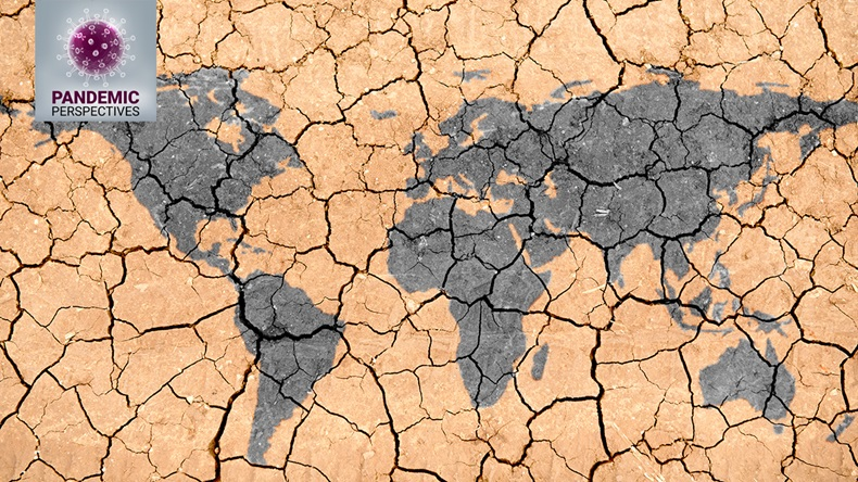 World map texture in a dried and cracked soil with Pandemic Perspectives logo